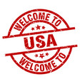 welcome to usa red stamp vector image vector image