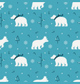 white polar bear using hat and scarf with winter vector image
