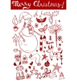 Winter holidays ink doodles on white background vector image
