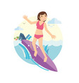 young girl surfing on the waves vector image vector image