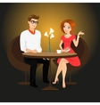 Young man and woman have a date in the restaurant vector image vector image