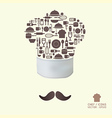 Kitchen tool icons on chef hat concept vector image