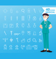 40 icons medical and healthcare for infographic vector image vector image