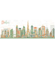 abstract dubai uae skyline with color buildings vector image vector image