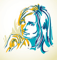 art drawing portrait of romantic girl isolated on vector image vector image