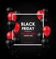black friday sale banner shiny black and red vector image