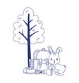 camping cute rabbit backpack flashlight boots tree vector image