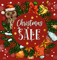 christmas holiday sale banner with xmas wreath vector image