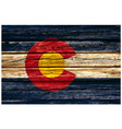 colorado co state flag on old rustic timber wall vector image vector image