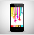colorful hands on mobile phone screen social vector image
