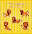 cute cartoon lion on stickers vector image vector image