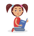 cute girl looking and holding blue schoolbook vector image vector image