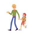 dad or father leads his son to school flat vector image