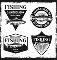 fishing tournament set of four emblems vector image
