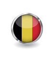 flag of belgium button with metal frame and vector image