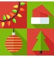 flat christmas icon set vector image