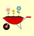gardening flower wagon graphic vector image