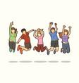 group children jumping happy feel good cartoon vector image