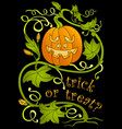 halloween pumpkin and greeting inscription vector image vector image