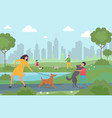 happy people walking with dogs in city park vector image