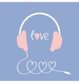 Headphones and cord in shape of three hearts Word vector image vector image