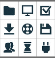 interface icons set with task hourglass plug and vector image
