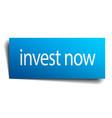 invest now blue paper sign on white background vector image vector image