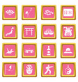 japan icons pink vector image vector image