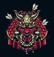 japanese samurai mask shot arrows vector image