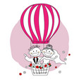 just married bride and groom on hot air balloon vector image