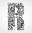 Letter R from doodle alphabet vector image