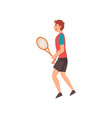 male tennis player with racket in his hand vector image vector image