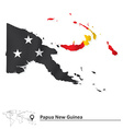 Map of Papua New Guinea with flag vector image