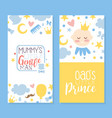 mummy little gentleman and dad prince card vector image vector image