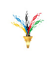 olympic torch concept olympic flame and gold torch vector image vector image