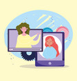 online education teacher and student website vector image vector image