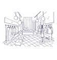 outline drawing of clothing boutique interior with vector image