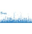 Outline Paris skyline with blue landmarks vector image vector image