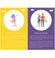 people in park couple walks together skateboard vector image vector image