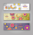 ramadan kareem horizontal banners with 3d vector image vector image