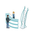 reception hall isometric 3d element vector image vector image