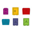 safe icon set color outline style vector image vector image