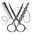 scissors comb and nail file symbol vector image vector image