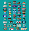 Set of the flat city buildings and shops vector image vector image