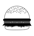 silhouette monochrome with big Hamburger vector image vector image
