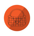 sketch of a picnic basket on a label vector image