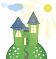Smart Castle with Solar Panels vector image