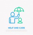 taking care about child man holding umbrella vector image vector image