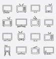 tv icons set linear icons tv isolated vector image vector image