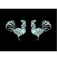 Two elegant roosters diamond composition vector image